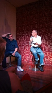 2013, Johnston Street, Fitzroy. Christos Tsiolkas and Dennis Altman in conversation. Both writers have been involved with Hares & Hyenas since the early 1990s and stay very connected today.